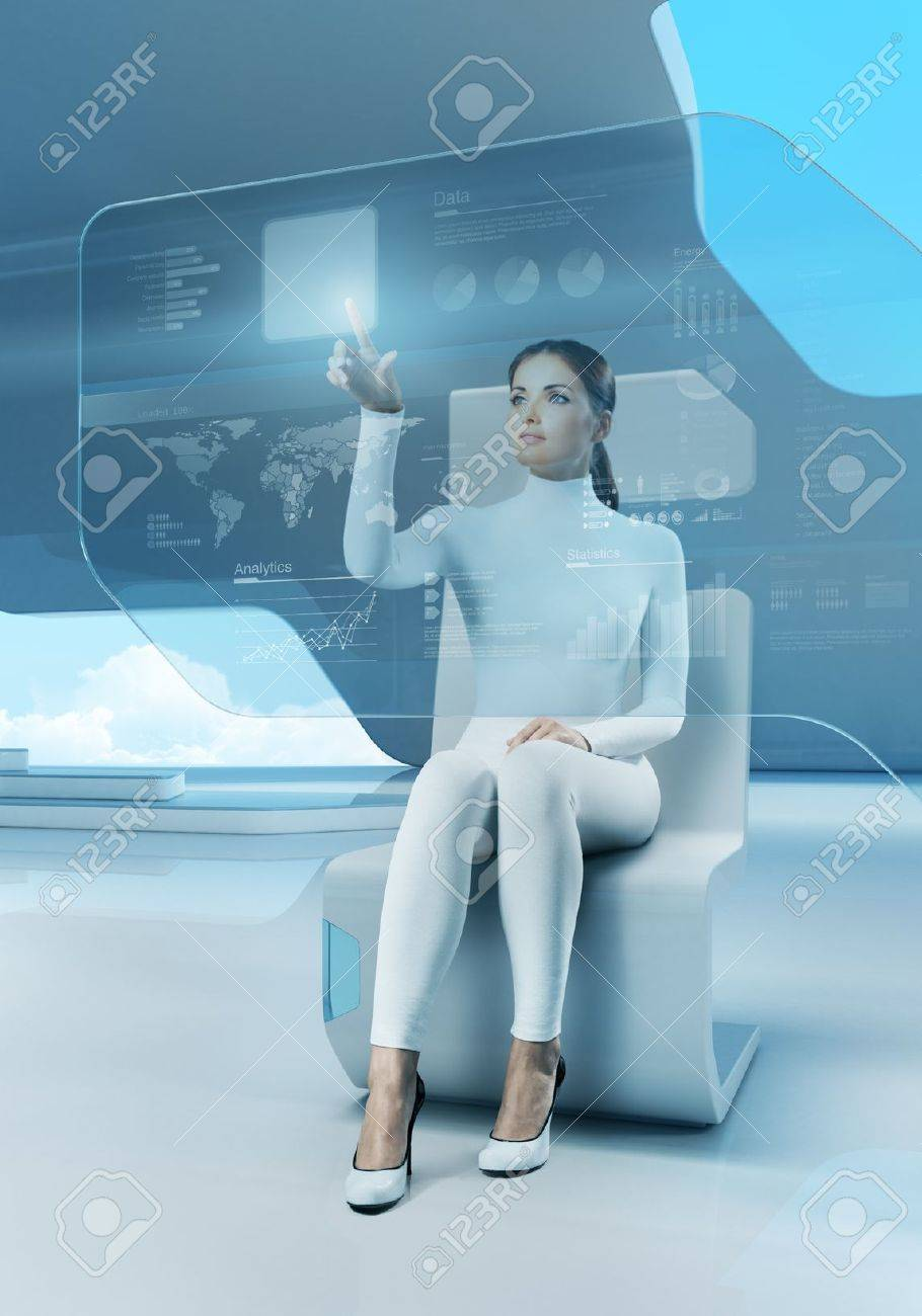 Future technology touchscreen interface Girl touching screen interface in hi-tech interior Business lady pressing virtual button in futuristic office Stock Photo - 17901199