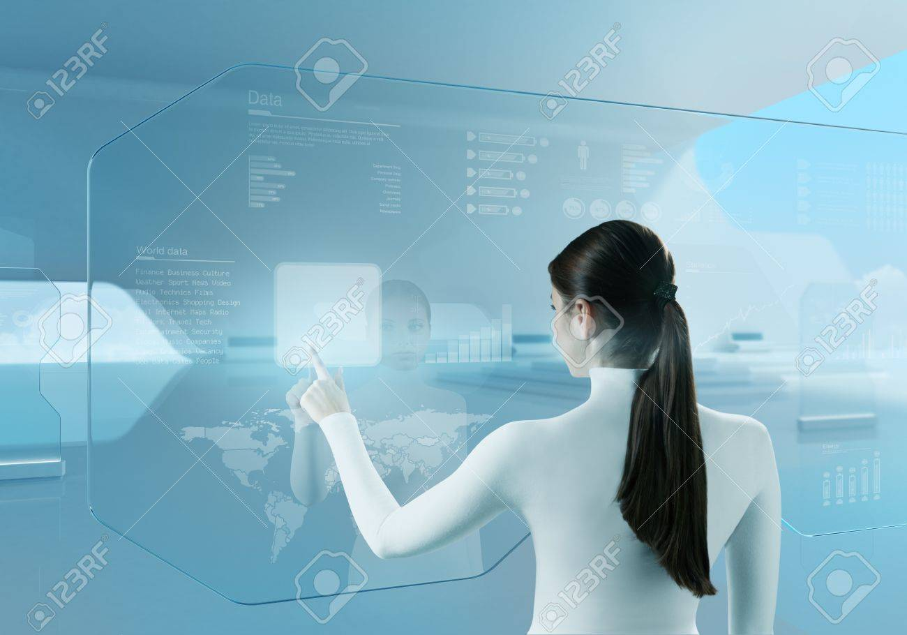 Future technology touchscreen interface  Girl touching screen interface in hi-tech interior  Business lady pressing virtual button in futuristic office Stock Photo - 18789011