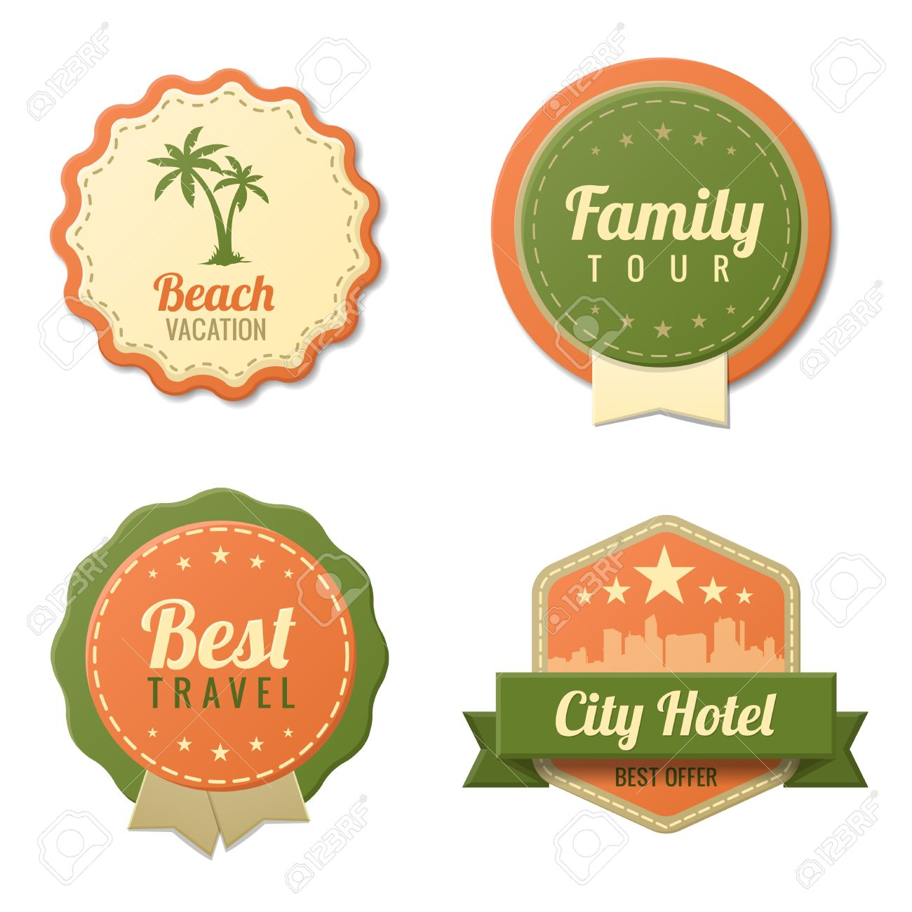 Travel vintage labels logo template collection tourism stickers