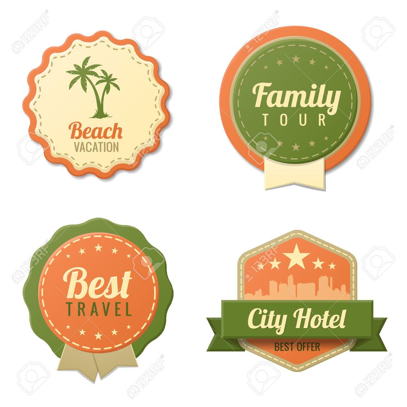 Voyage Vintage Labels Logo Modele Collection Tourisme Stickers Retro Beach Visite Familiale De Style City Hotel Insigne Icones Vectoriel Editable Clip Art Libres De Droits Vecteurs Et Illustration Image 18856540