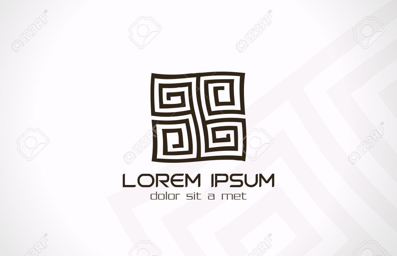 Laberinto Abstracto Logotipo De La Plantilla Rompecabezas Rebus ...