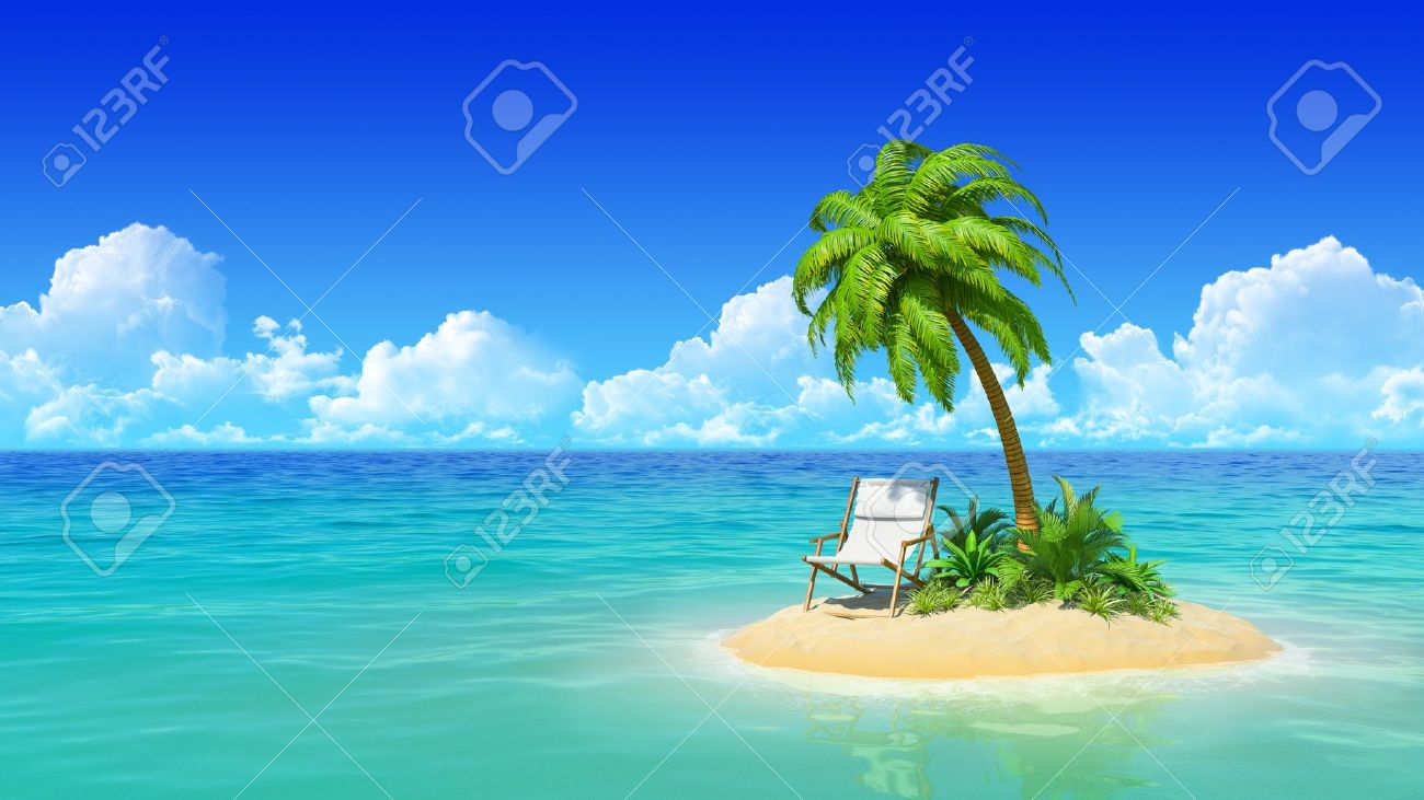 Desert tropical island with palm tree and chaise lounge  Concept for rest, holidays, resort, travel Stock Photo - 19012813