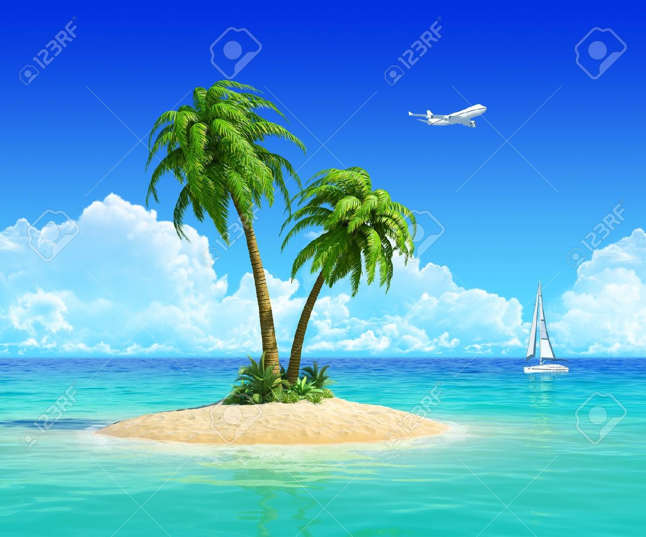 Tropical Island Yacht Clean Sand Beach On Tropical Island With Palm Tree Also With
