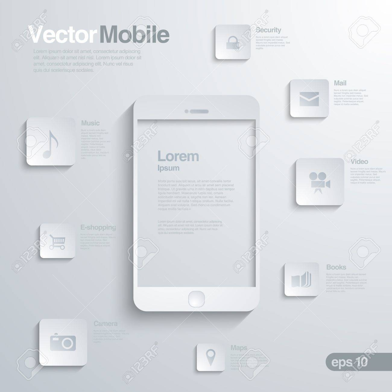 Mobile Smartphone with icon interface. Infographics. Elegant design concept of mobile technology. Stock Vector - 19089915