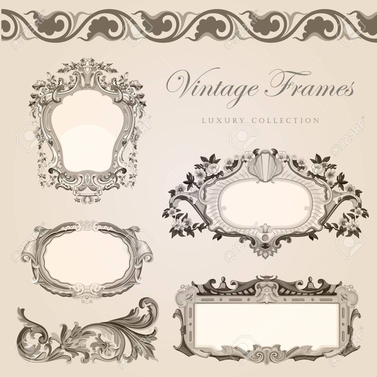 Vintage Frames Border Retro Wedding Invitation Template Royalty Free ...