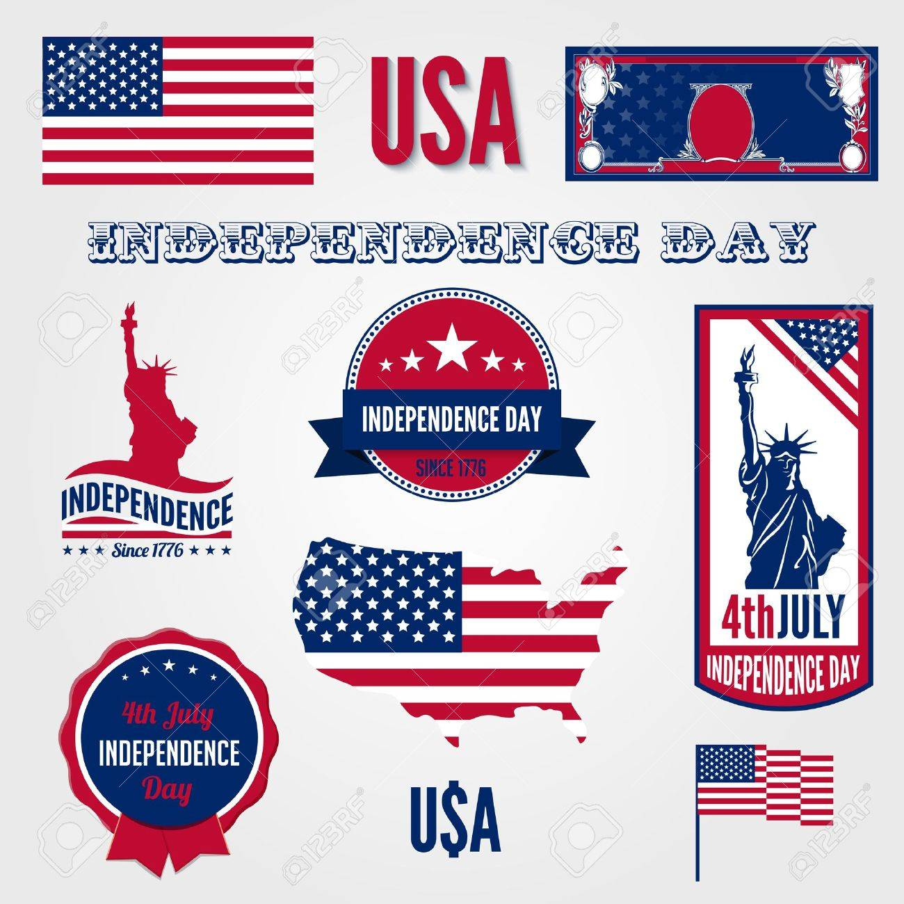 Usa independence day design template elements 4th of july usa independence day design template elements 4th of july celebration symbols american national holiday signs medals biocorpaavc Images