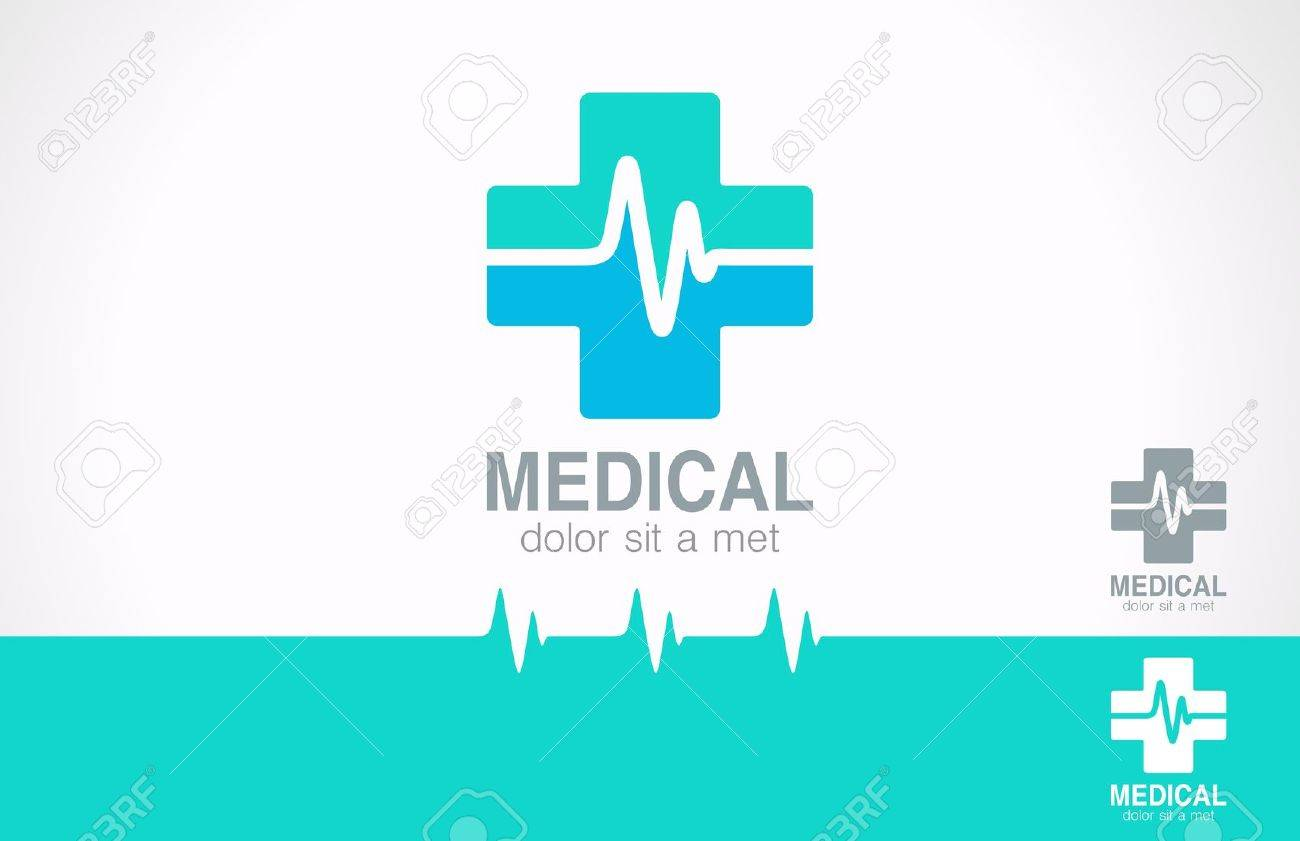 medical pharmacy design template medic cross icon with cardiogram