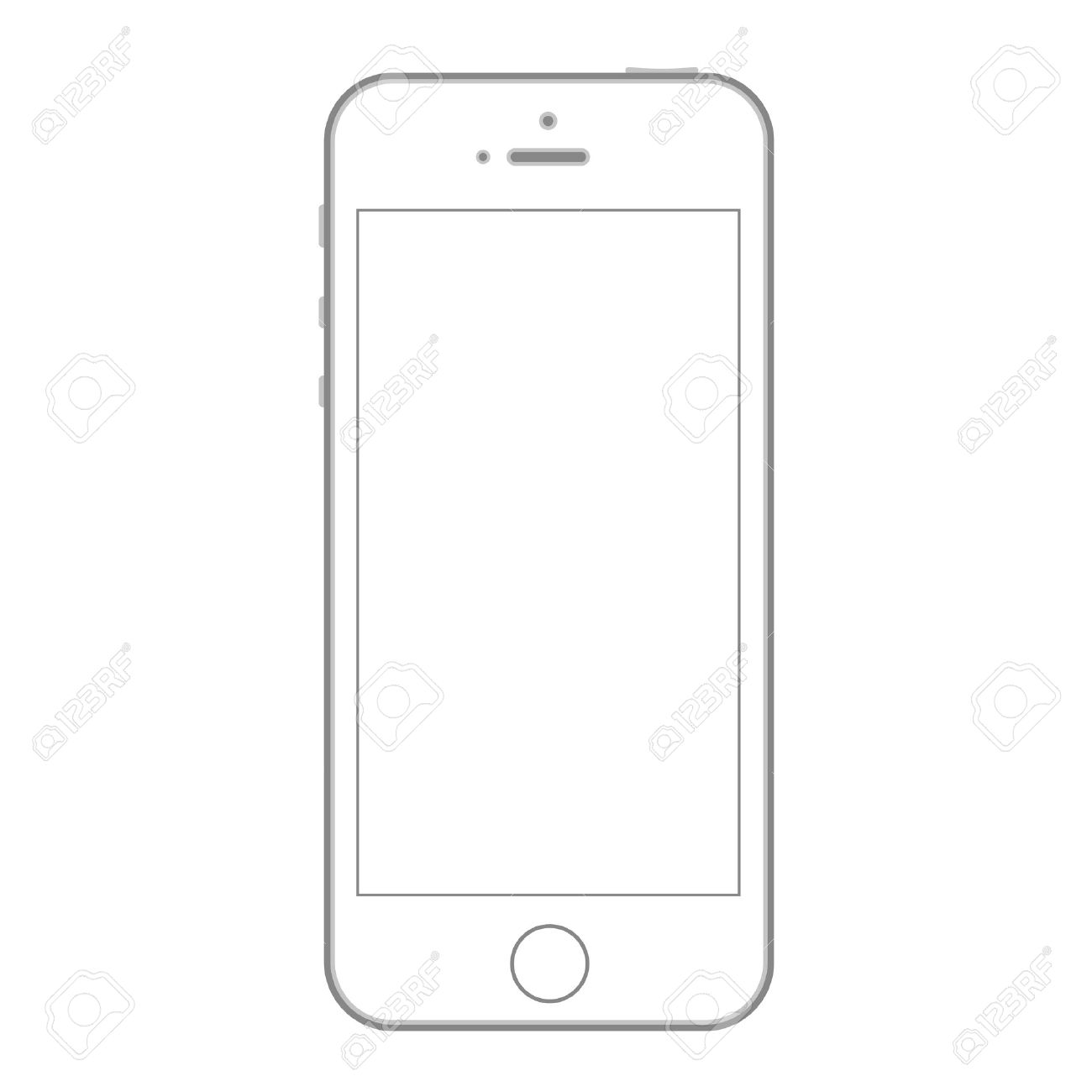 Mobile Phone Mockup Design Template Outline Shape Royalty Free ...