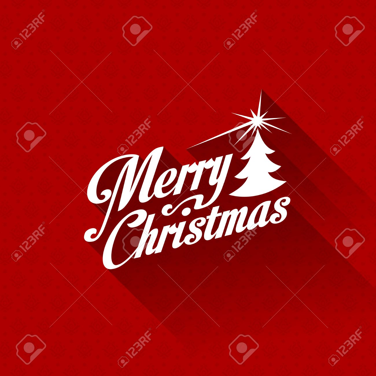 Elegant Merry Christmas Greeting Card Vector Design Template Trendy Retro Creative  Style Red Vintage Seamless Pattern On