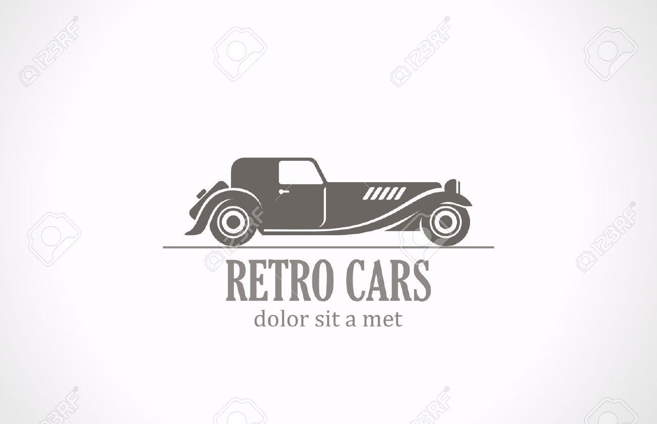 Retro Vintage Car Silhouette Abstract Vector Logo Design Old ...