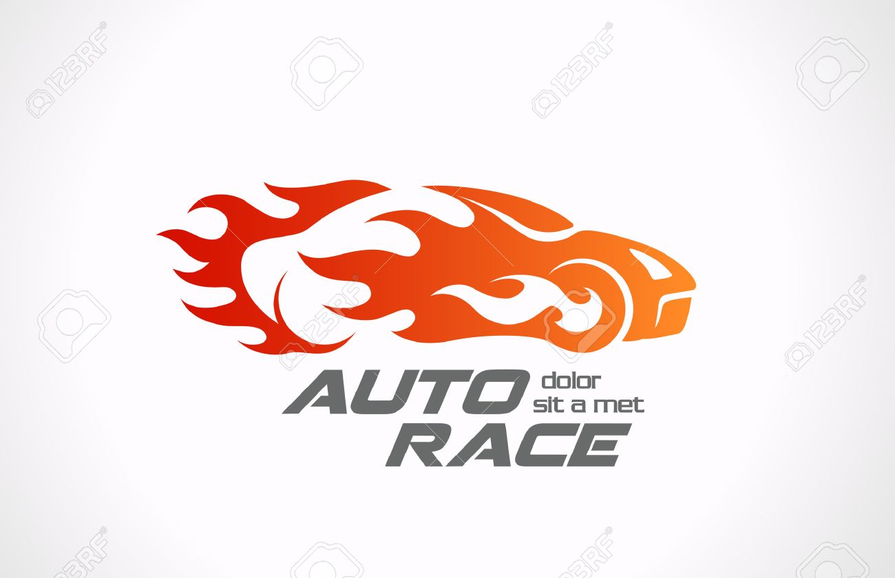 Sport Car Speed Race Vector Logo Design Fire Vehicle In Motion Auto Rally  In Flame Creative