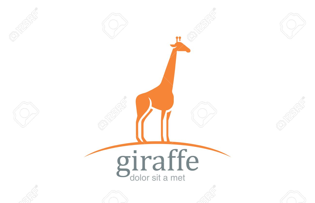 giraffe logo silhouette vector design template wildlife animal