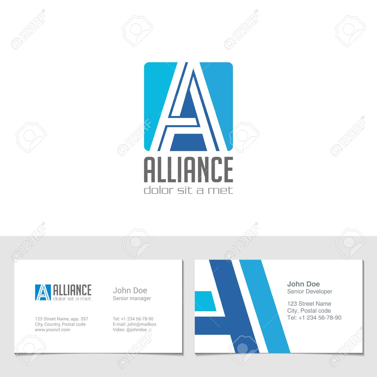 corporate logo a letter company vector design template logotype with identity business visit card