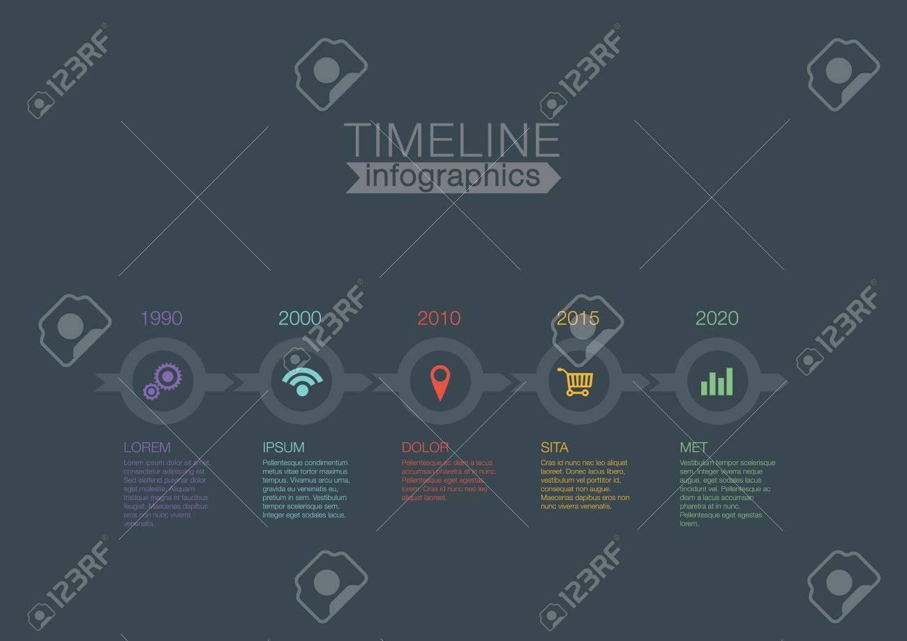 Timeline Infografik Umkreist Vektor-Design-Vorlage Für ...