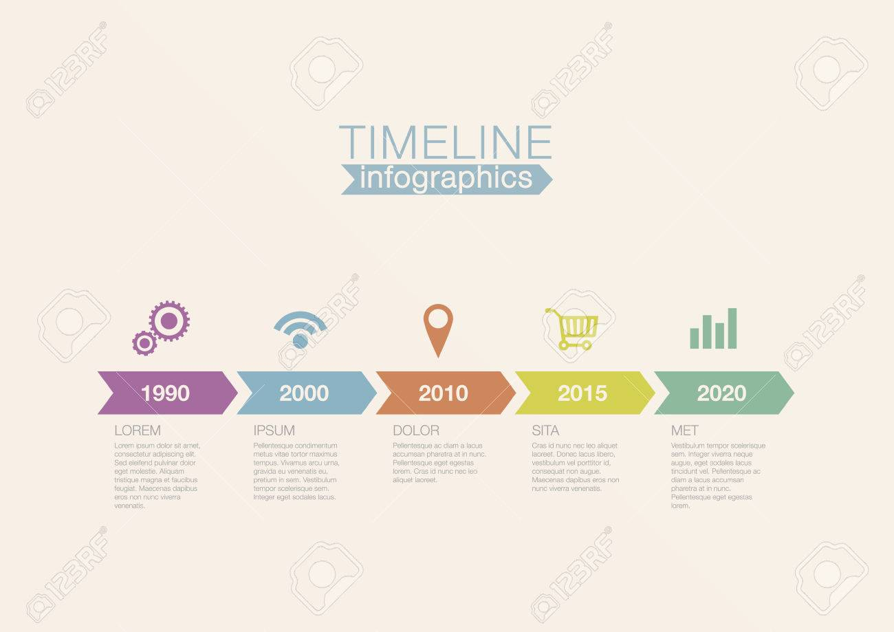 Timeline Infographics Vector Design Template For Financial Reports - Timeline design template
