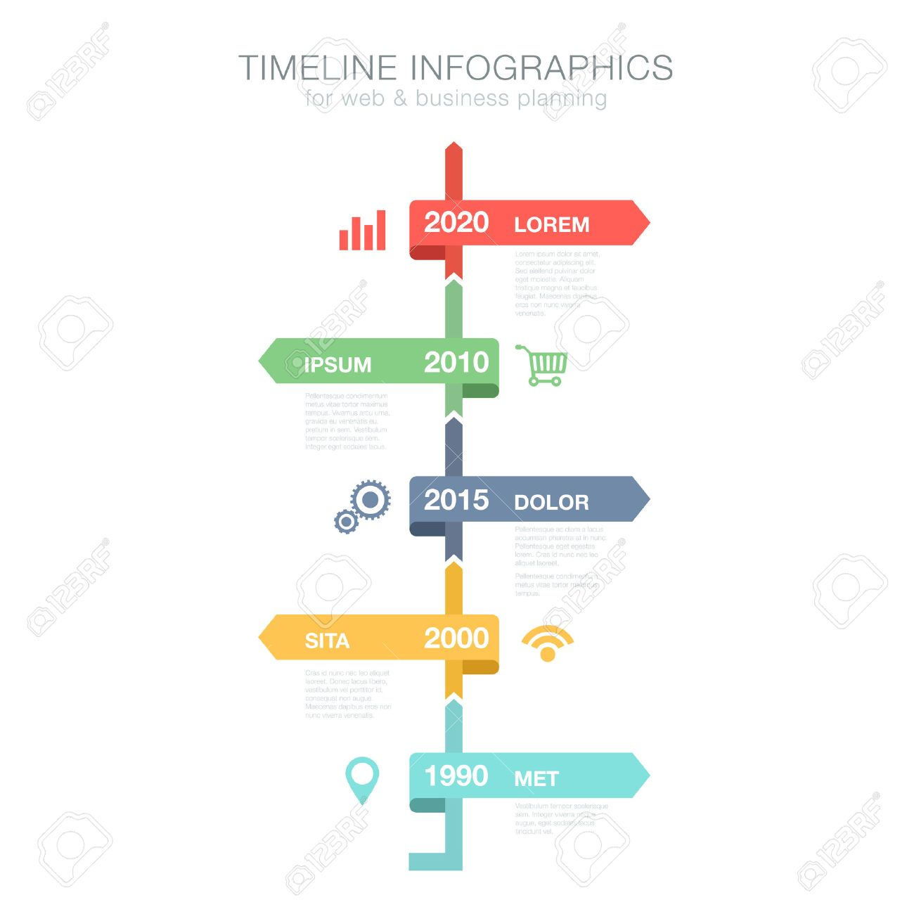 Timeline Infographics Vertical Vector Design Template For Business – Timeline Website Template