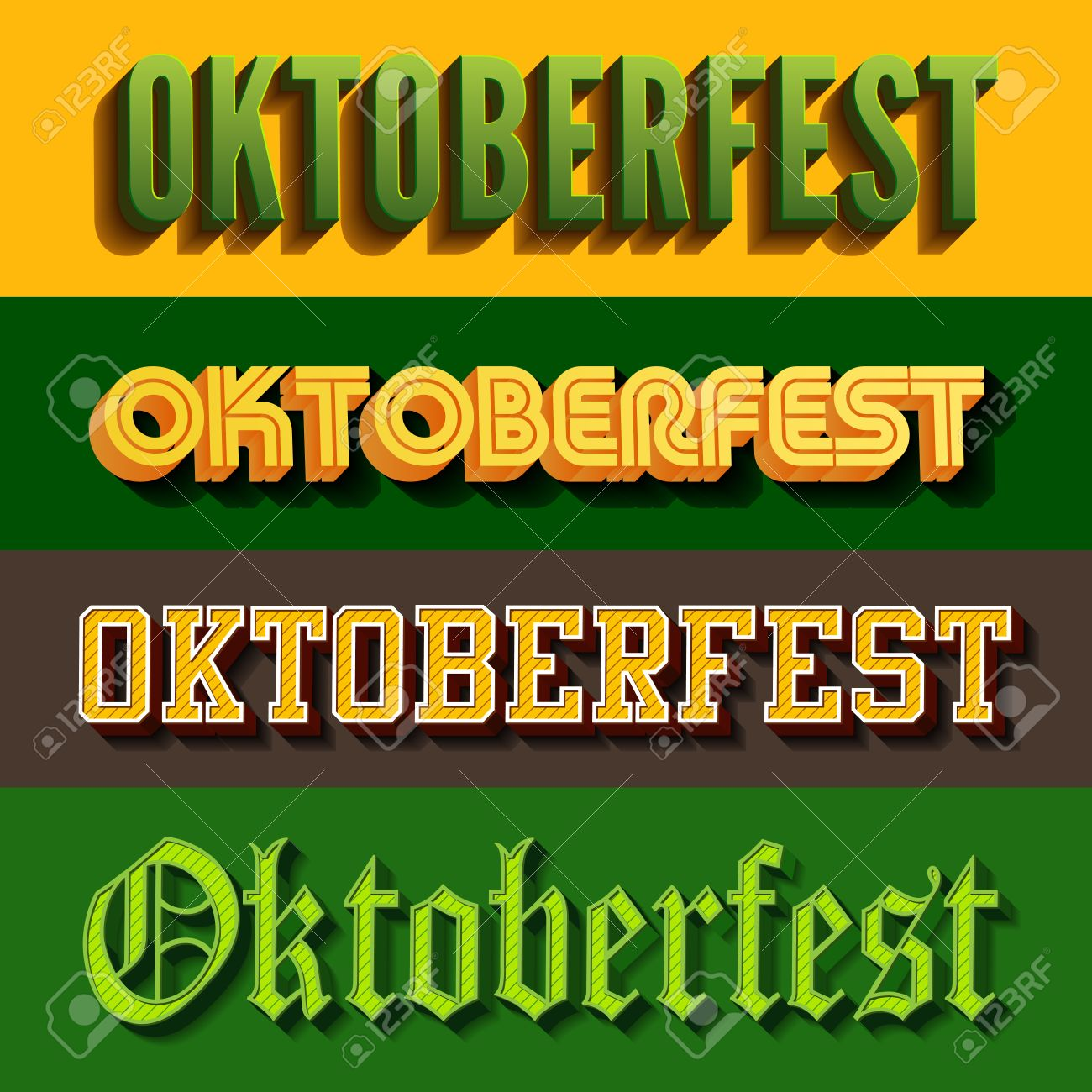 Oktoberfest Festival Typography Vintage Retro Styles Vector Design Poster Template Creative 3d Typo Font Octoberfest