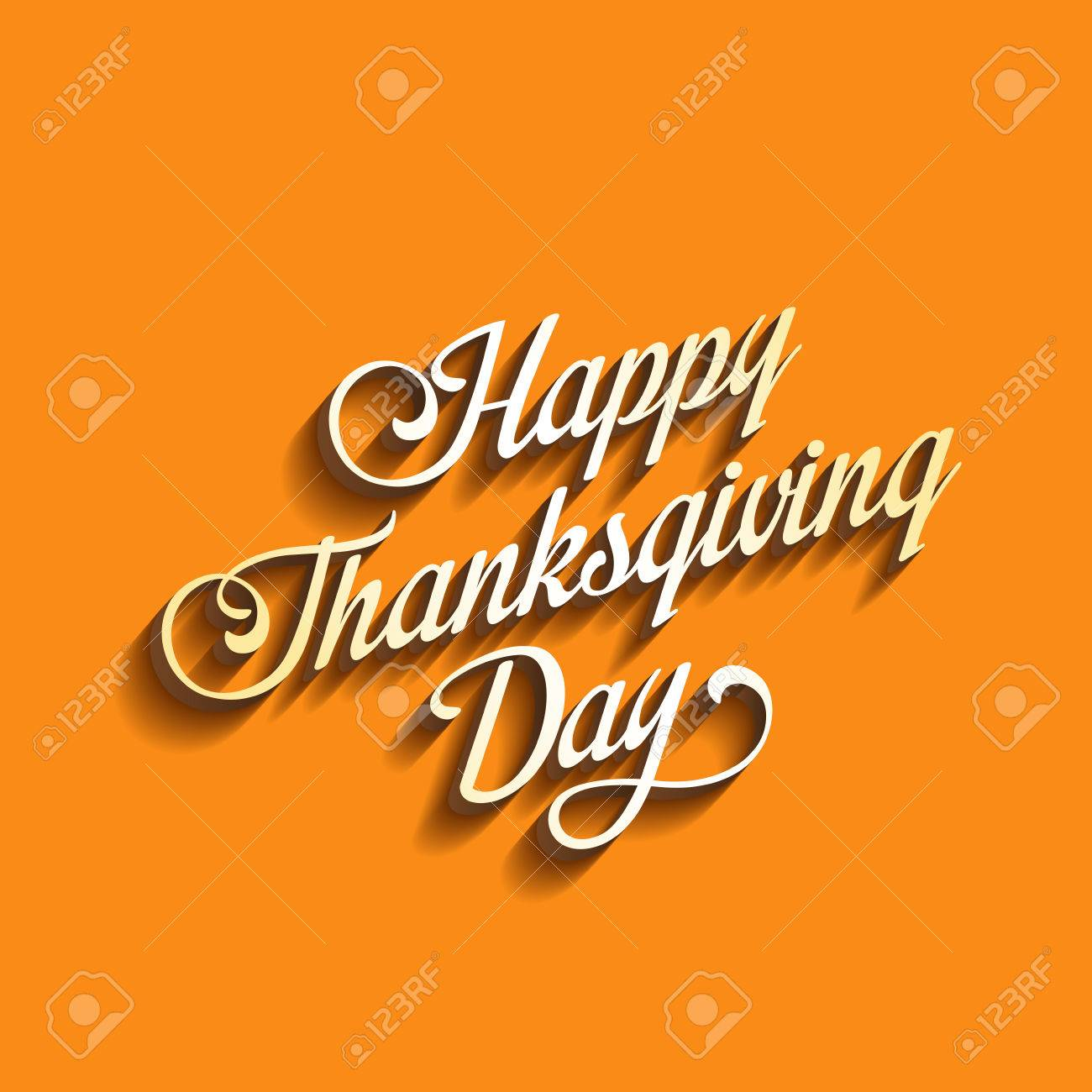 Poster design 3d - Happy Thanksgiving Day Calligraphy Greeting Card Poster Design Template Calligraphic Text 3d Long Shadow Vintage