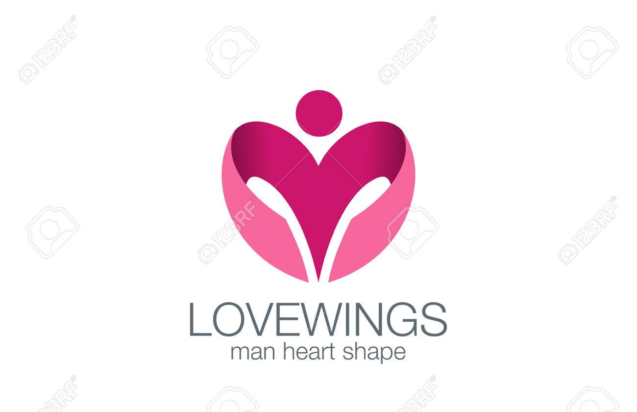Man Flügel Als Herzform Logo Design Vorlage Vektor Konzept Symbol