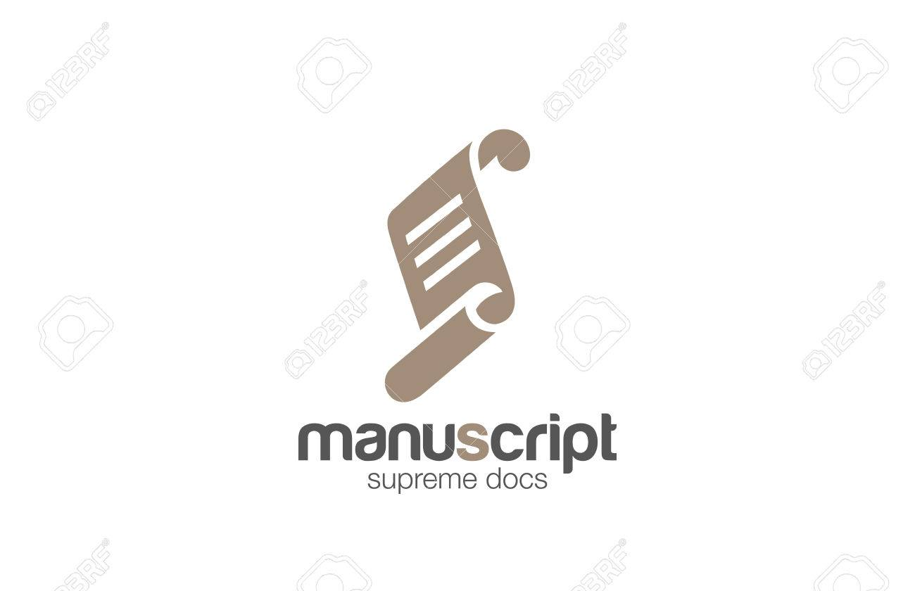 Paper Roll Manuscript Logo Design Vector Template. Scroll Script ...