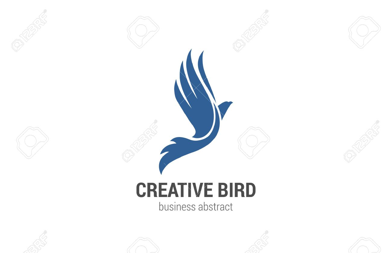 flying bird logo abstract design vector template phoenix concept