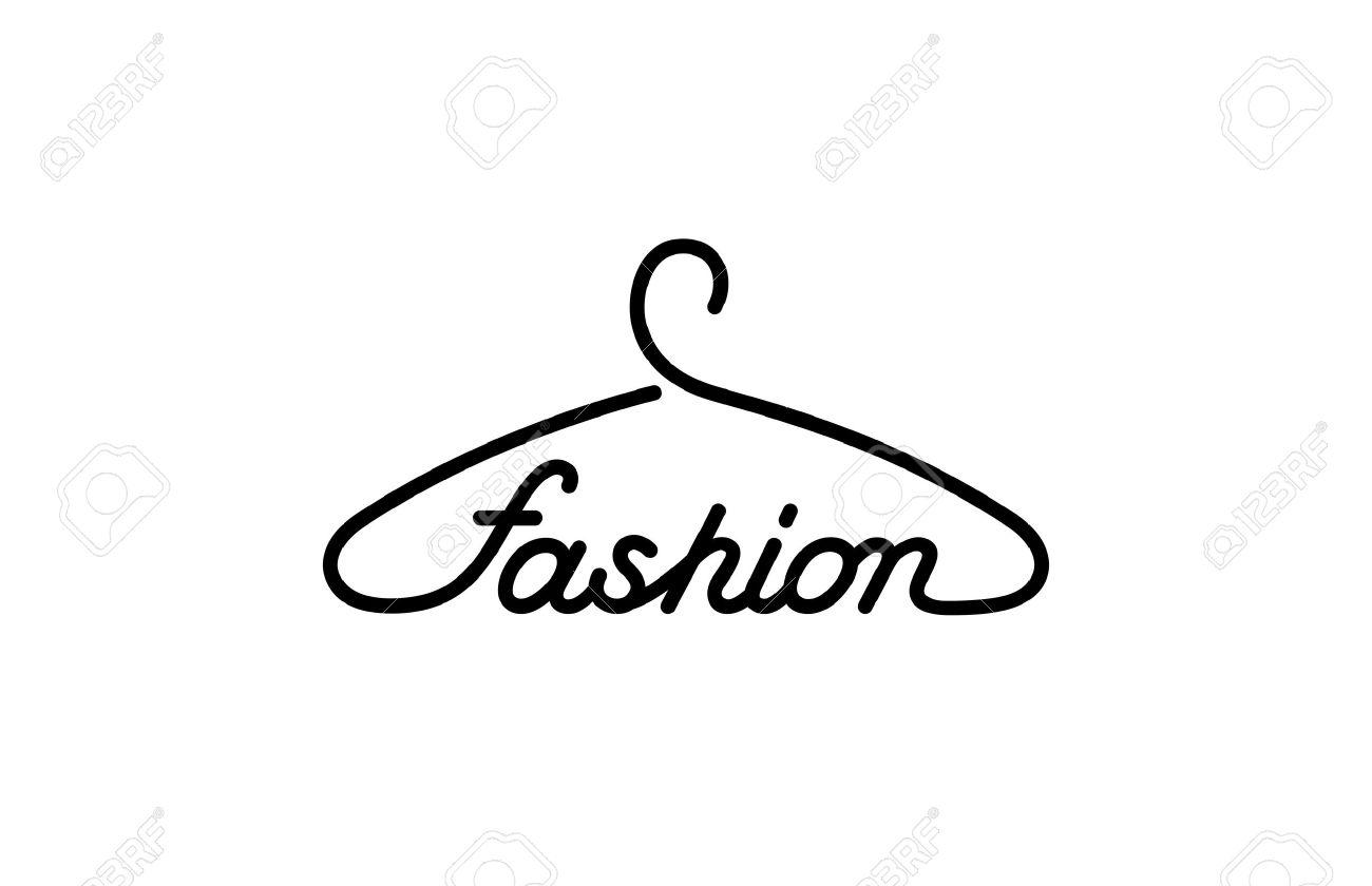ハンガー ファッション テキストのロゴはデザイン ベクトル