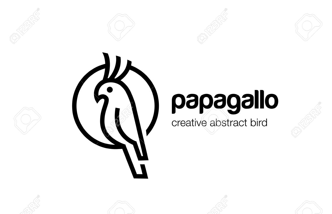 Parrot Logo Abstract Lineart Outline Design Vector Template. Bird ...