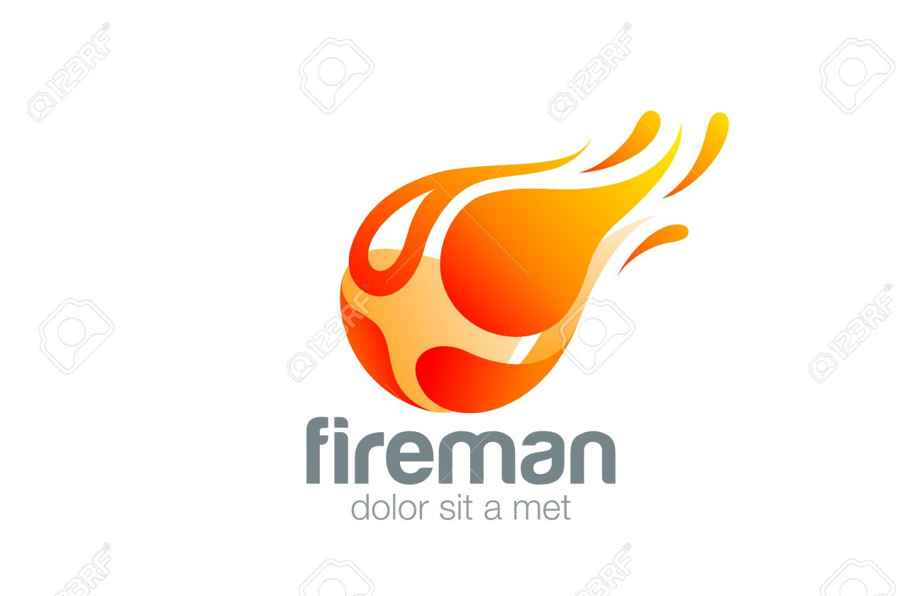 Homem Em Fogo Chama Logo Design Modelo De Projeto Abstrato Do Vetor. Voar  Fireball Energia Part 52