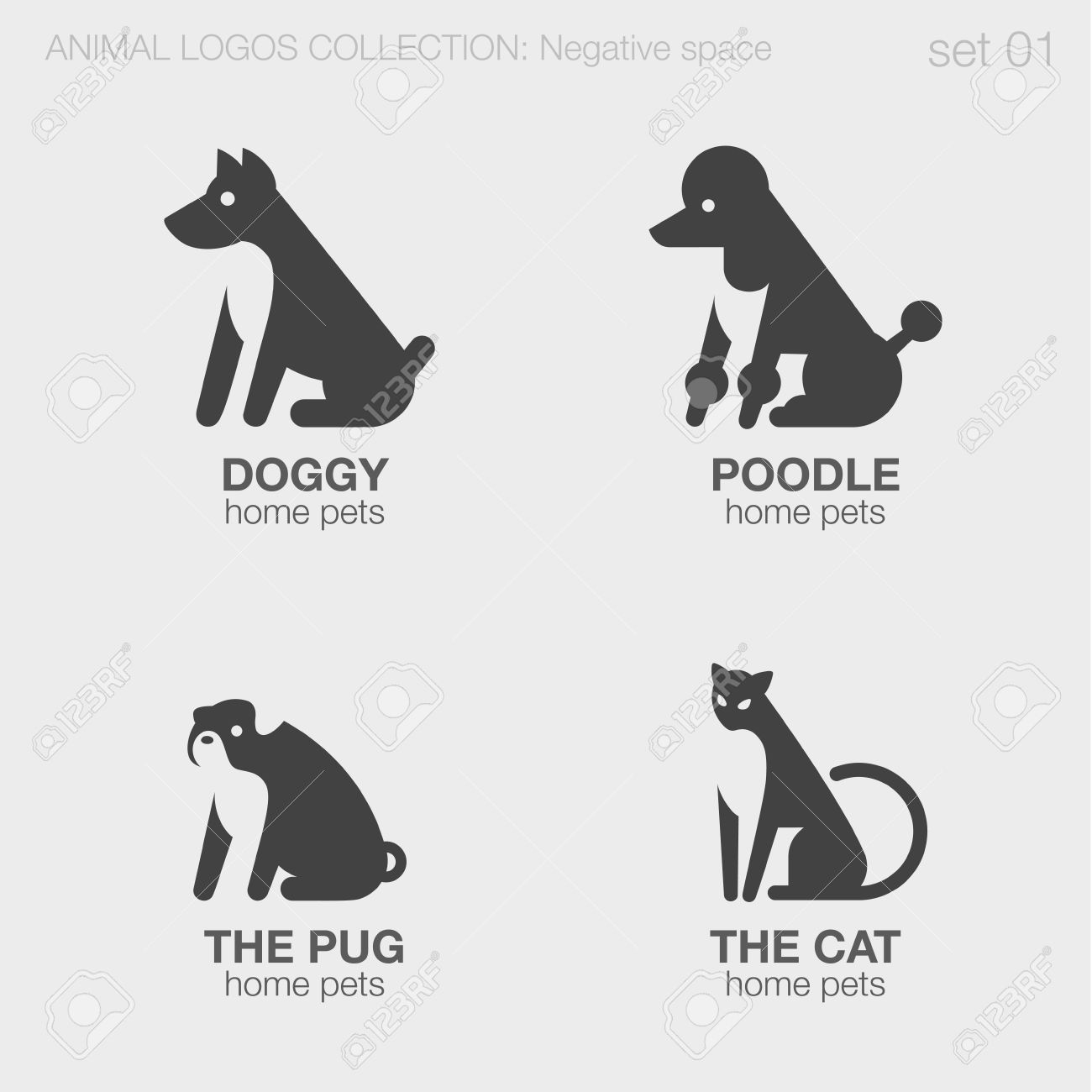 Home Pets Animals Logos Negative Space Style Design Vector Templates ...