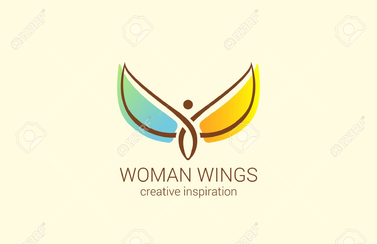 Voler femme avec des ailes Logo conception abstraite modèle vecteur. Concept créatif pour la boutique des femmes: comment faire femme heureuse. Ange