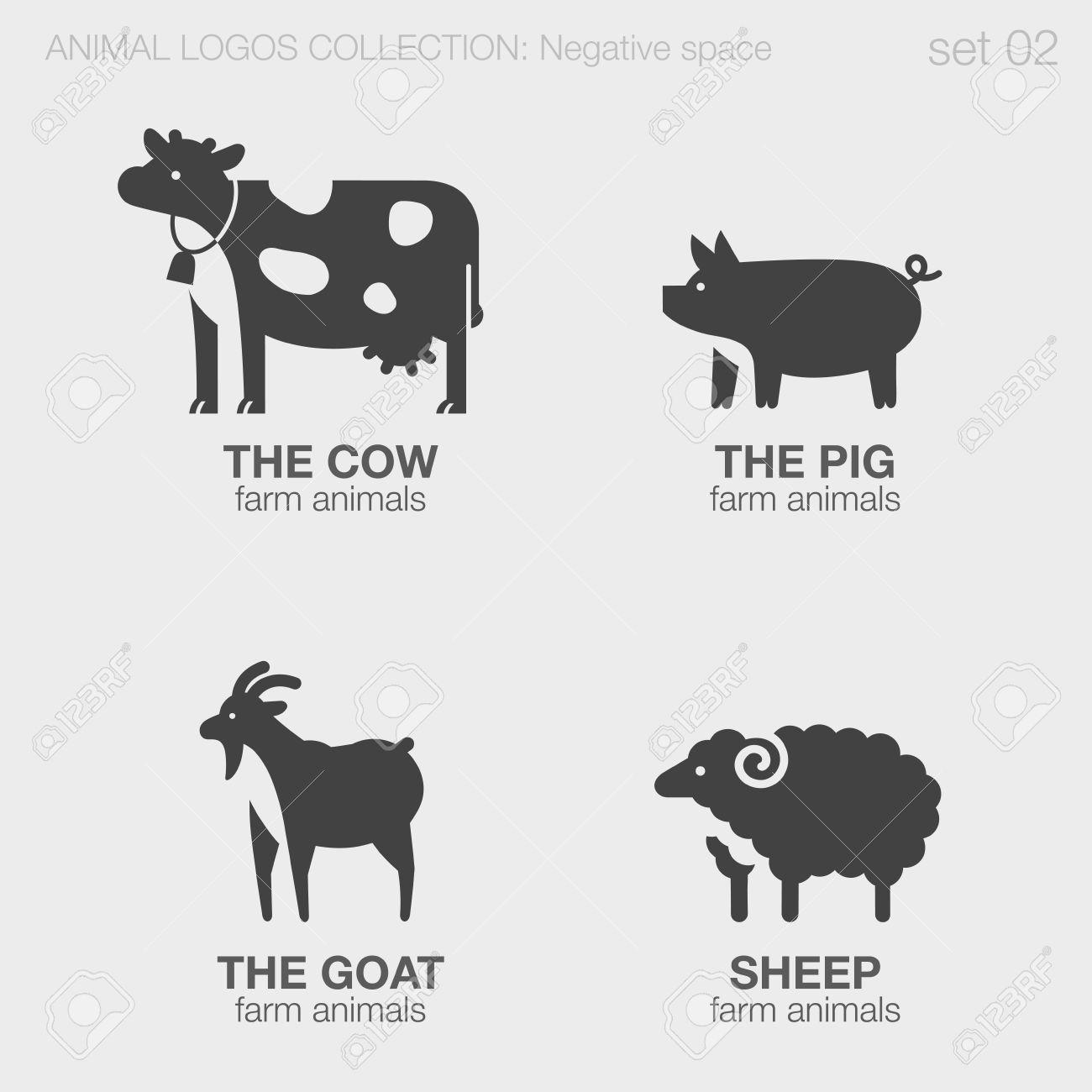 Farm Animals Logos Negative Space Style Design Vector Templates. Cow ...
