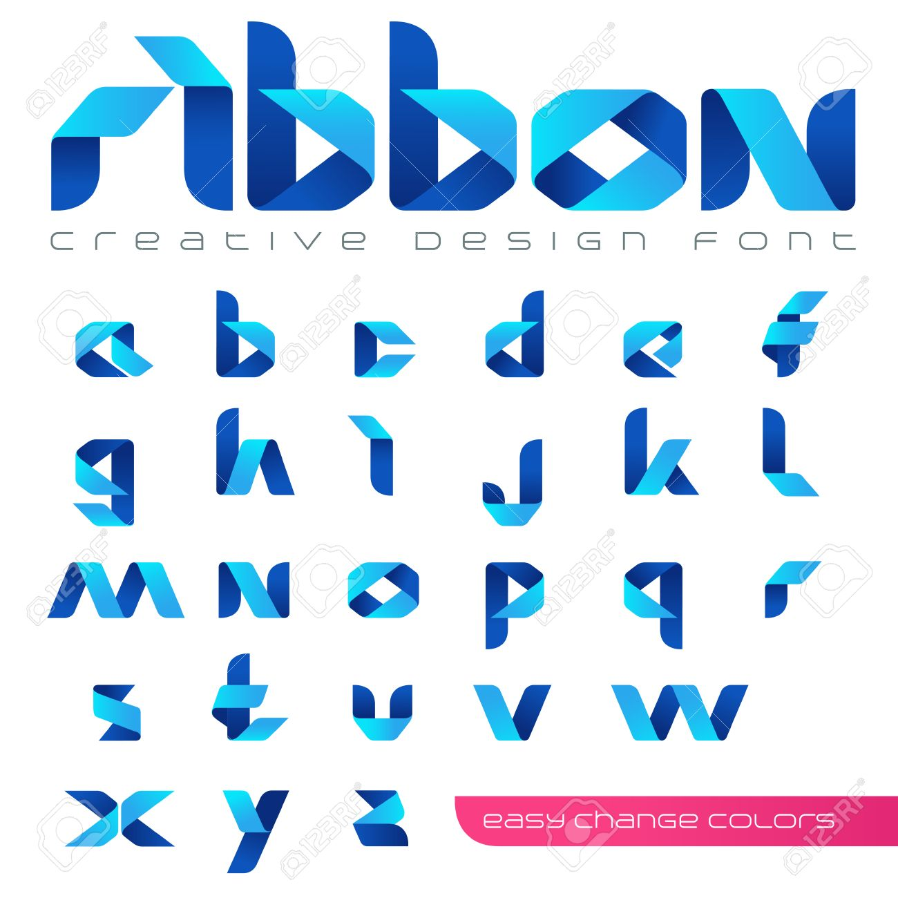 Ribbon Font Vector Creative Design Hitech Style ABC Tape Origami Alphabet Lowercase Letters