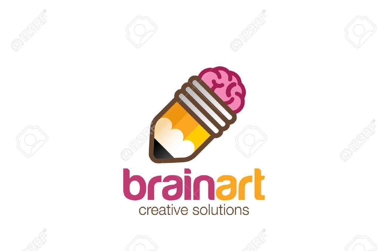 Brain Pencil Logo Design Vector Template. Creative Ideas Symbol Icon.  Logotype For Design Studio