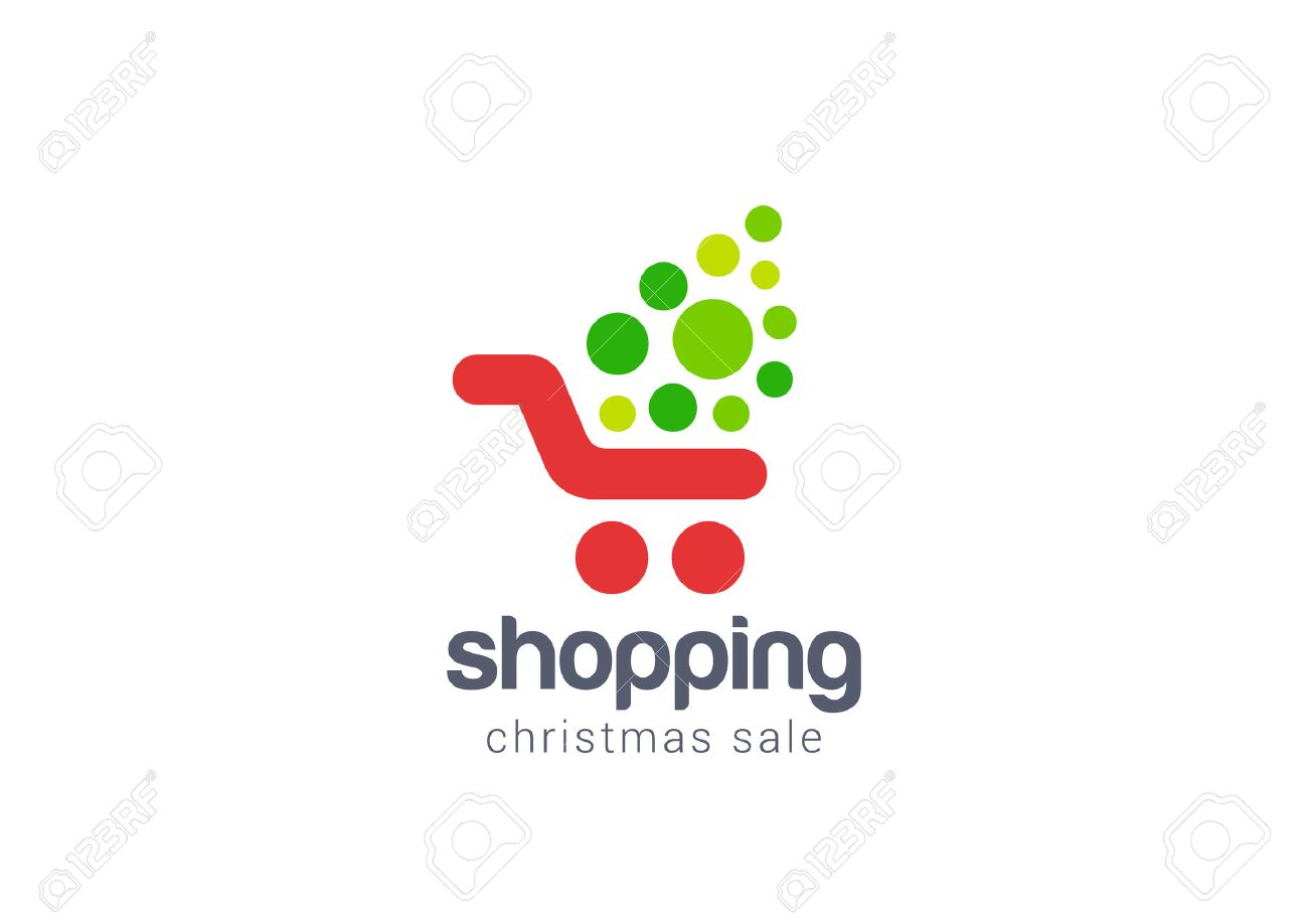 Christmas Sale Shopping Cart Logo Design Vector Template Concept ...