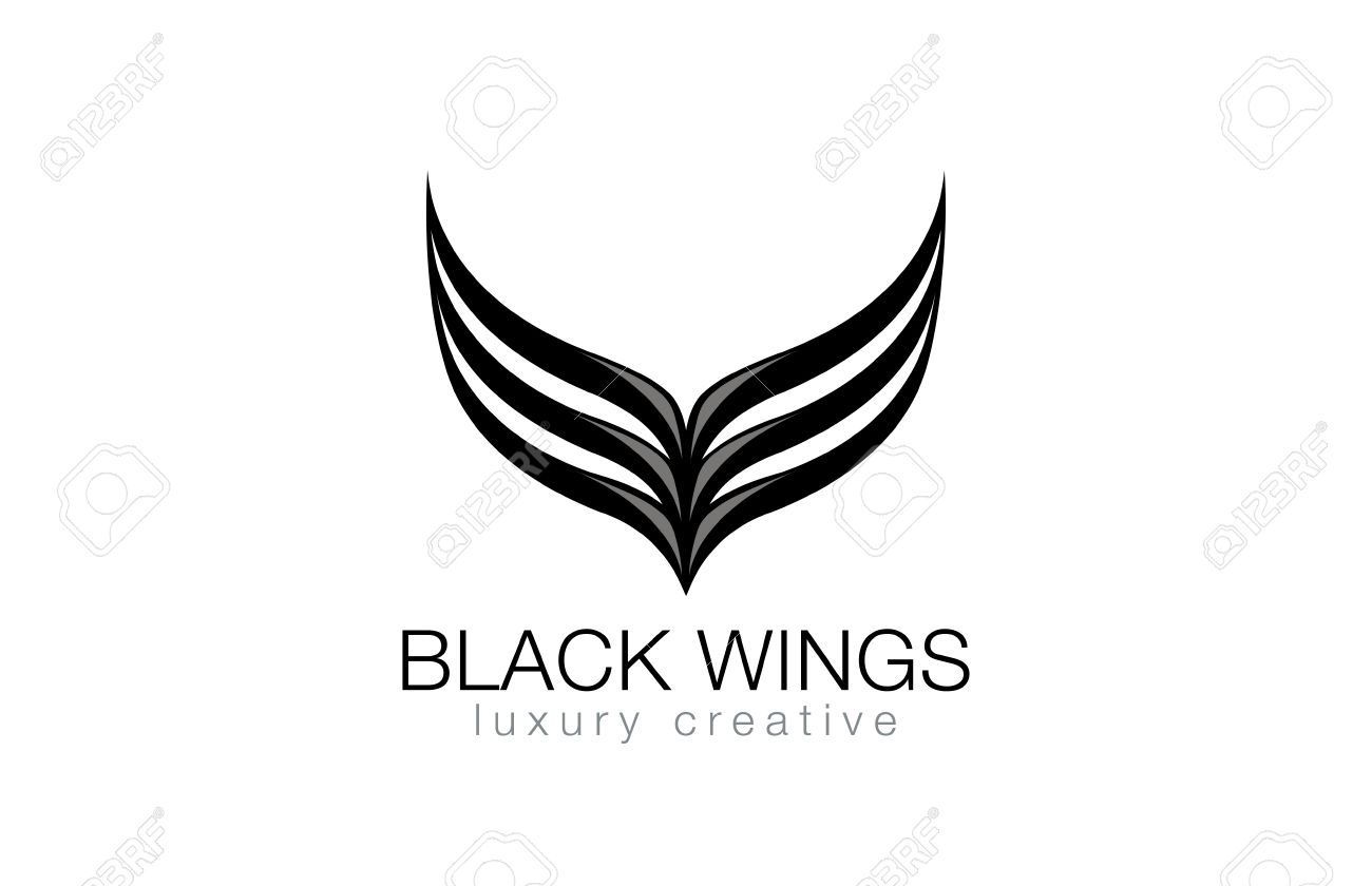Elegant Black Wings as V letter Luxury Abstract Business Fashion Logo design vector template. Abstraction logotype concept icon. - 45457256