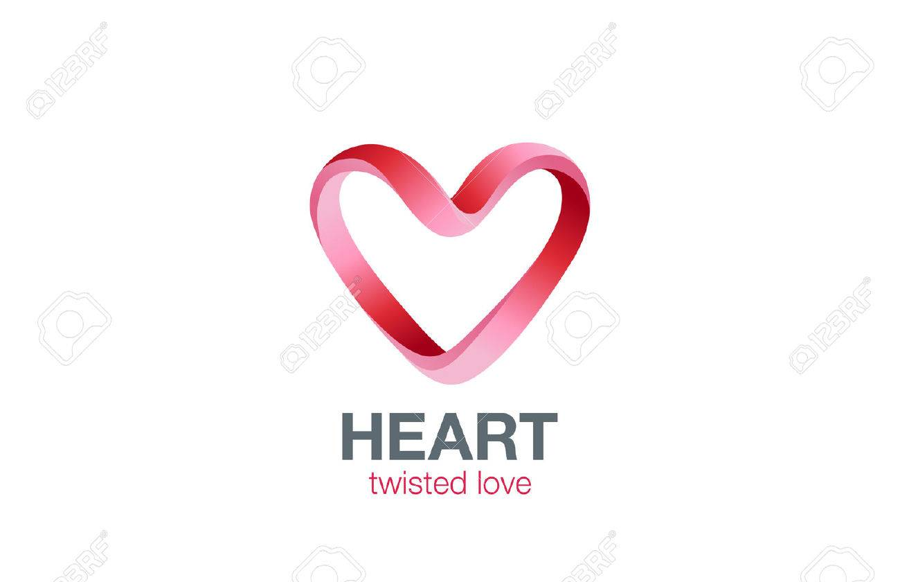 Heart shape Ribbon twisted Logo design vector template. St. Valentines day Love dating concept icon. Cardiology medical Logotype. - 45457535