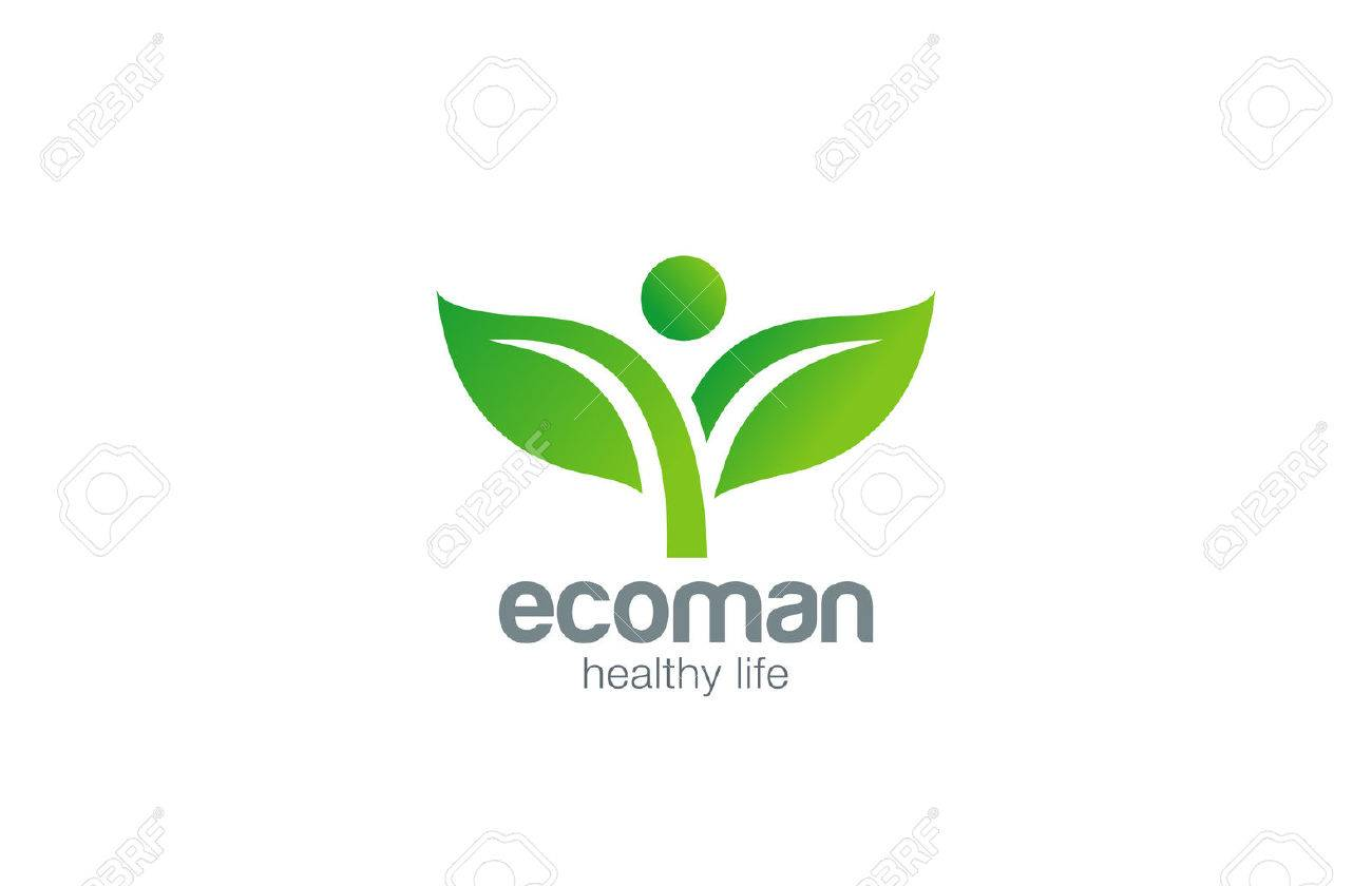 Green Plant Abstract Logo natural Organic Eco design vector template. Ecology Fresh Farm products Logotype. Sprout man concept icon. - 45457814
