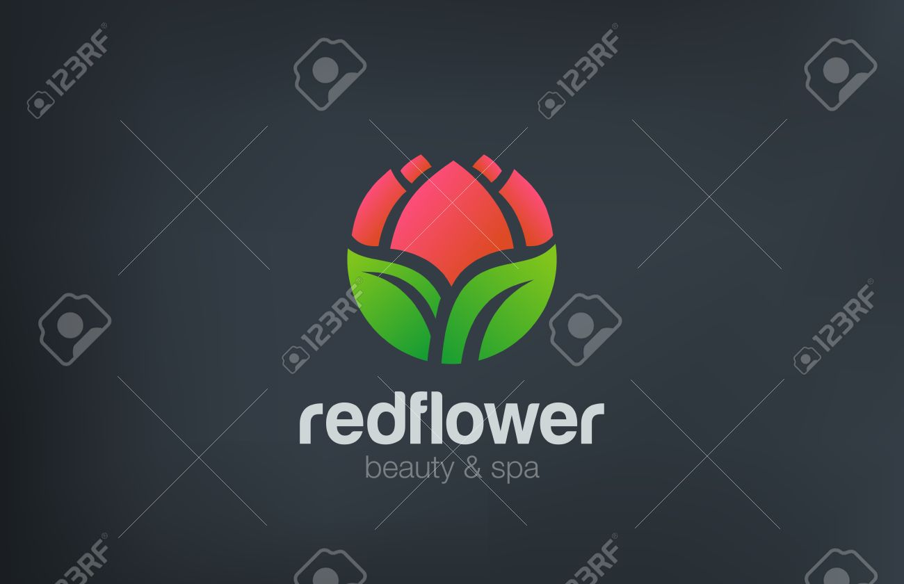 Abstract Flower Logo circle shape design vector template. Beauty Spa Cosmetics Logotype concept. Garden Flower shop icon. - 45458108