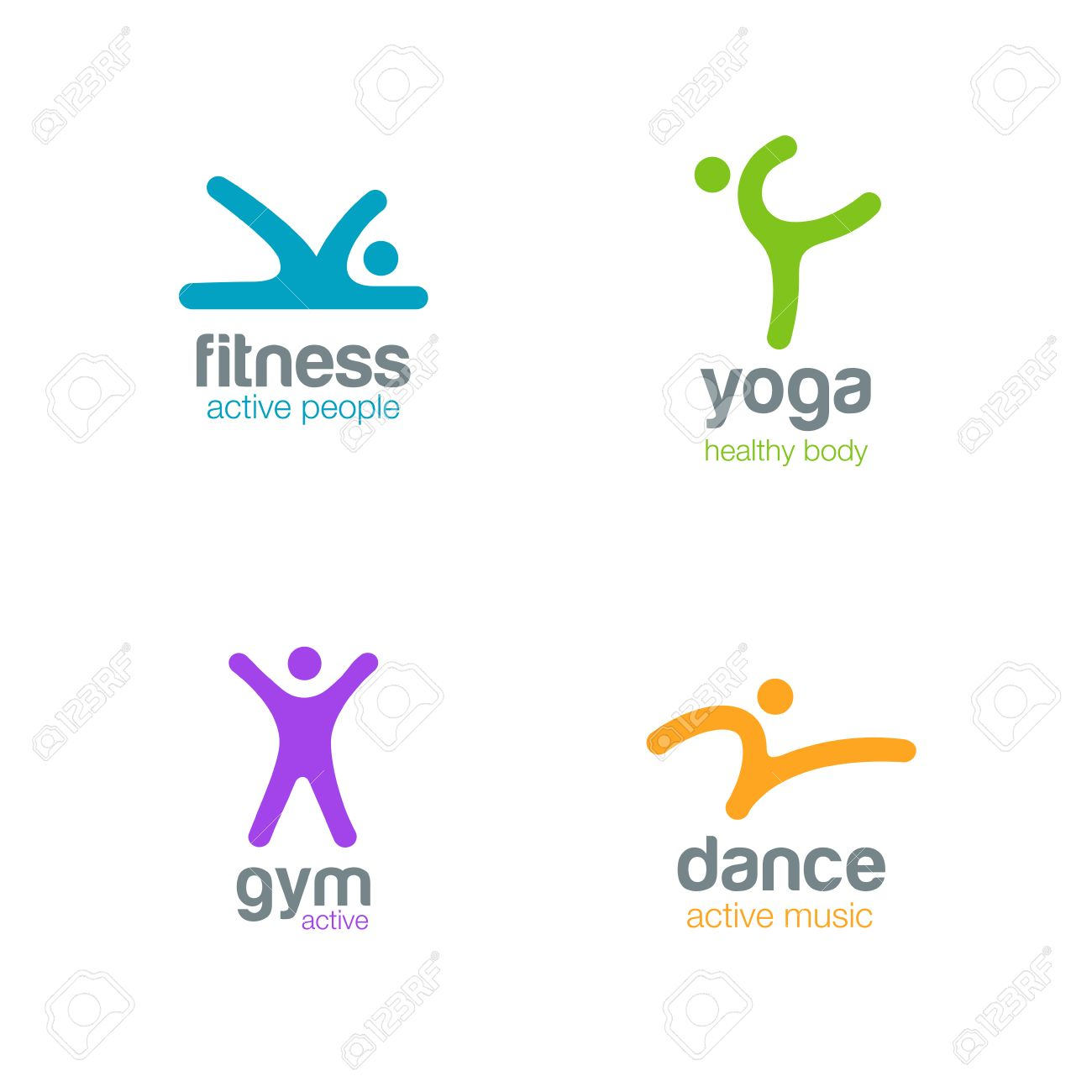 Fitness Dance Yoga Gym Logos Design Vector Templates Active Sports Colorfull Creative Simple Logotype Icons