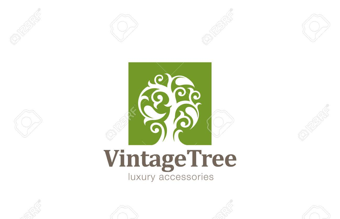 Vintage Tree Logo Design Vector Template Magic Plant With Big
