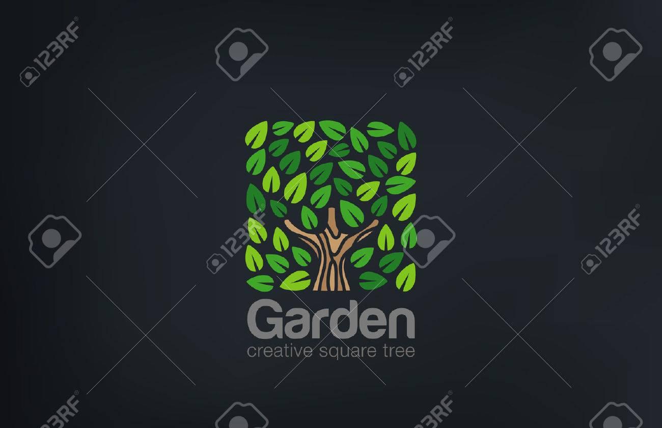 Abstract Green Tree Logo Square shape design vector template. Green Farm Garden Logotype icon. Eco concept. - 45458119