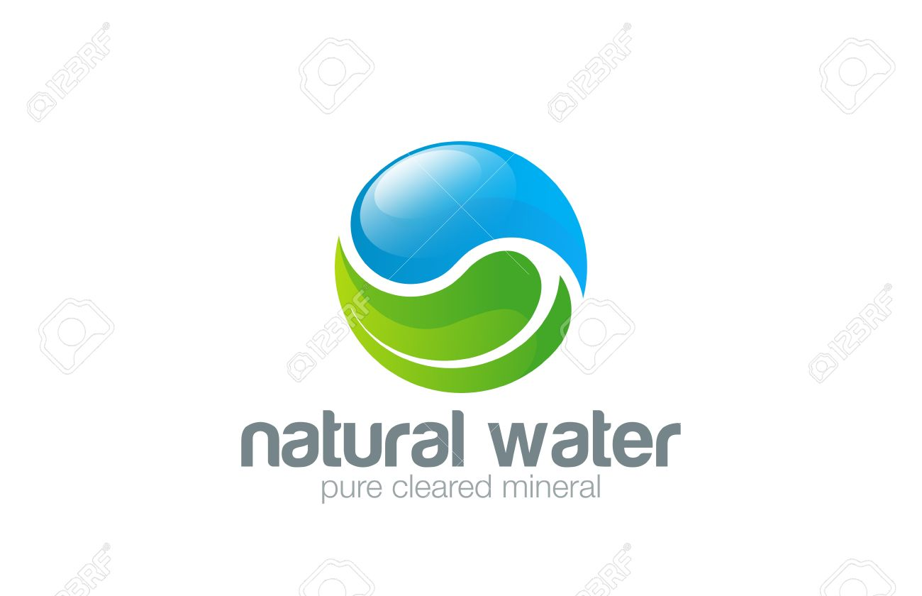 Water drop Leaf Logo design vector template. Yin Yang concept. Ecology green pure natural aqua logotype. Clear eco water icon. - 45458118