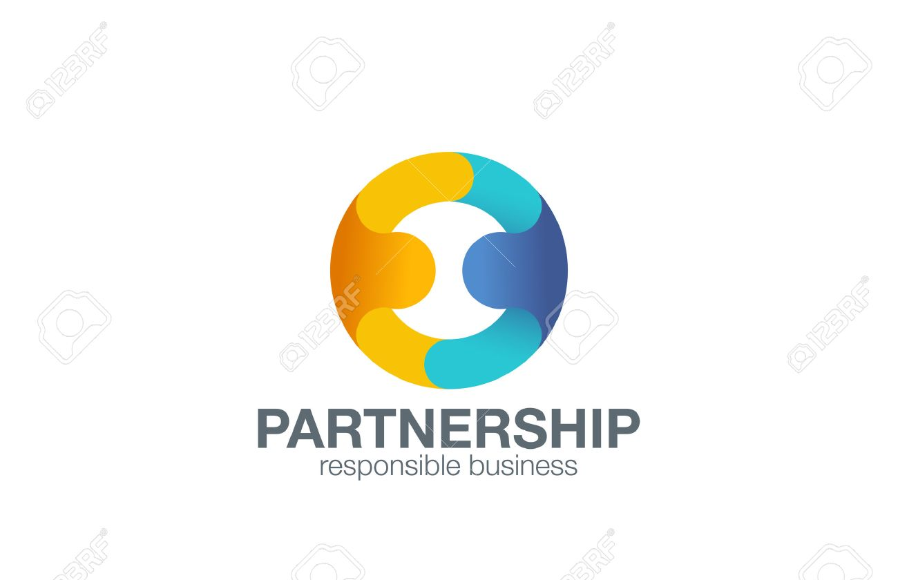 Partnership Logo Design Vector Template With Abstract Characters