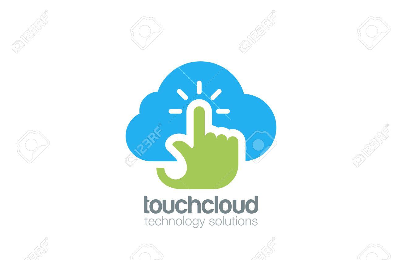 Hand Touch Cloud Computing Logo Design Vector Template. Digital ...