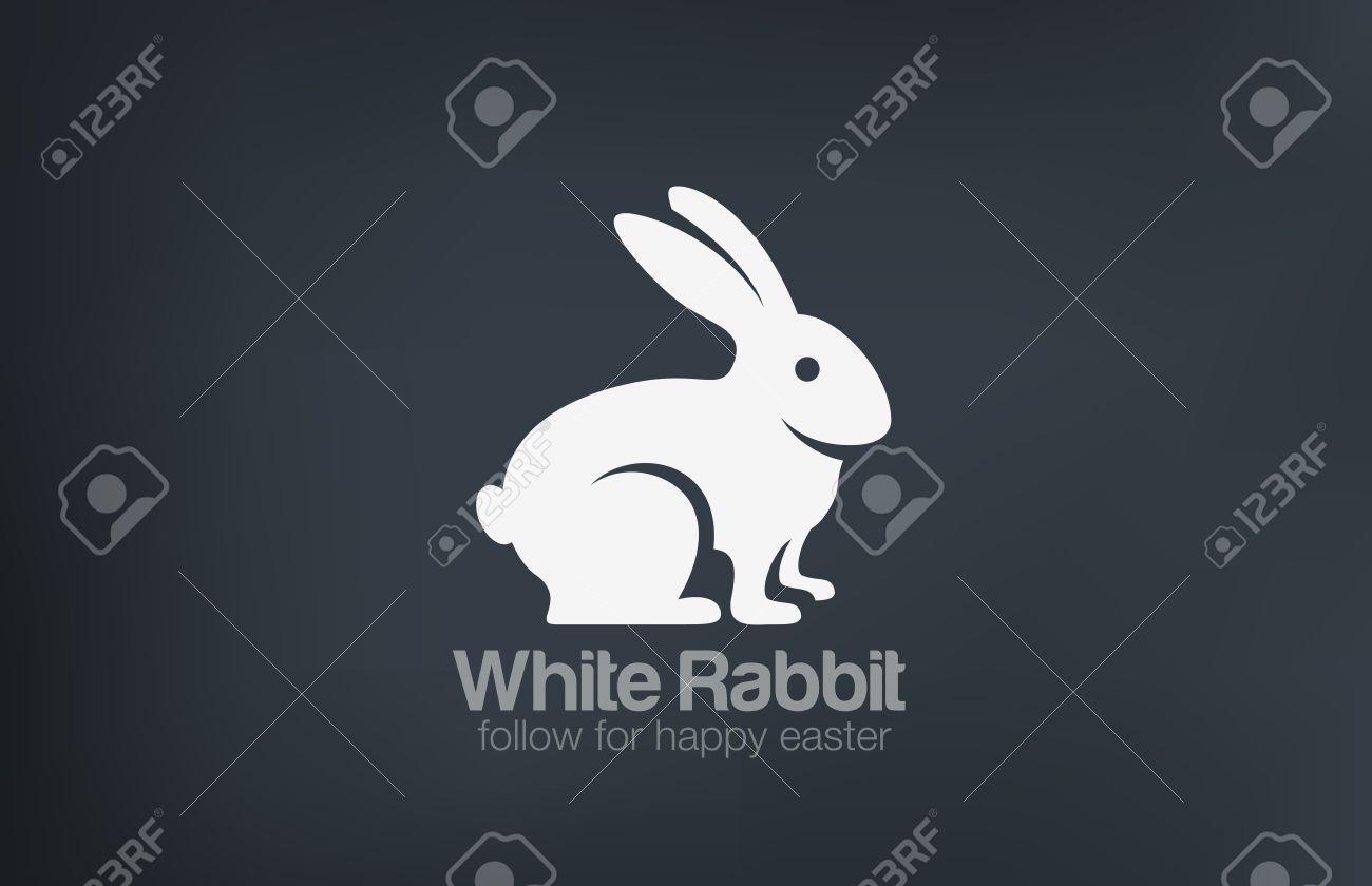 white rabbit logo design silhouette vector template happy easter