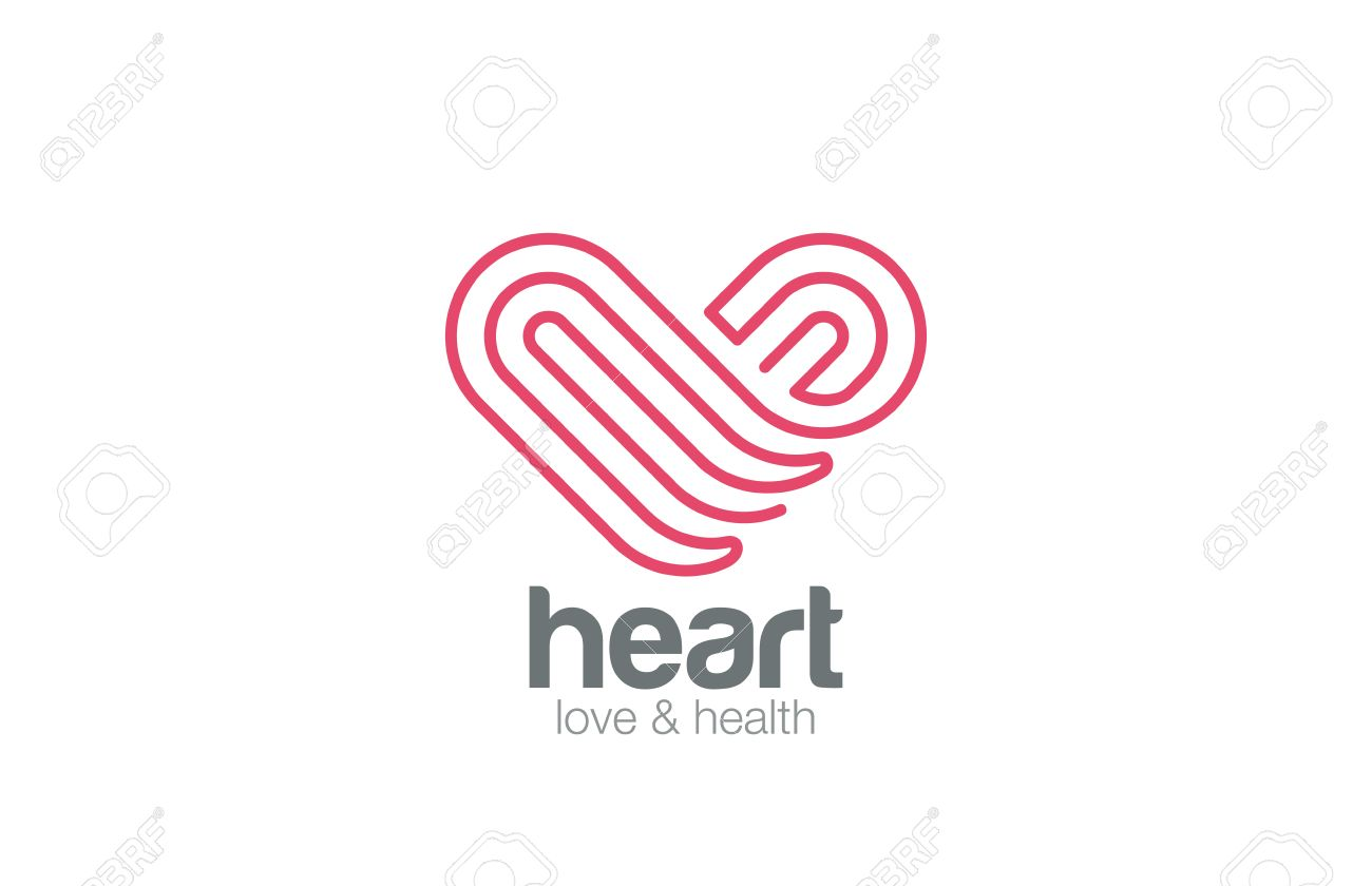 Logo Heart one line art design vector template. Medicine, Pharmacy, Cardiology, Love, Dating Logotype concept icon. - 45460021
