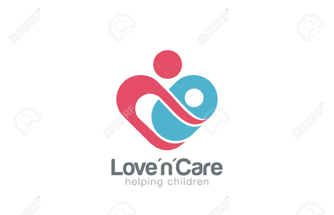 Mother and child Logo design vector template. Take care about infant. Mom helps son daughter Heart shape Logotype concept icon. - 45460020