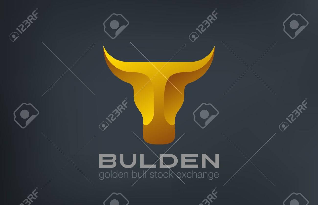 Golden Bull Head Logo design vector template. Stock Exchange strategy 3d logotype concept icon. Symbol of Power, Strength. - 45460018