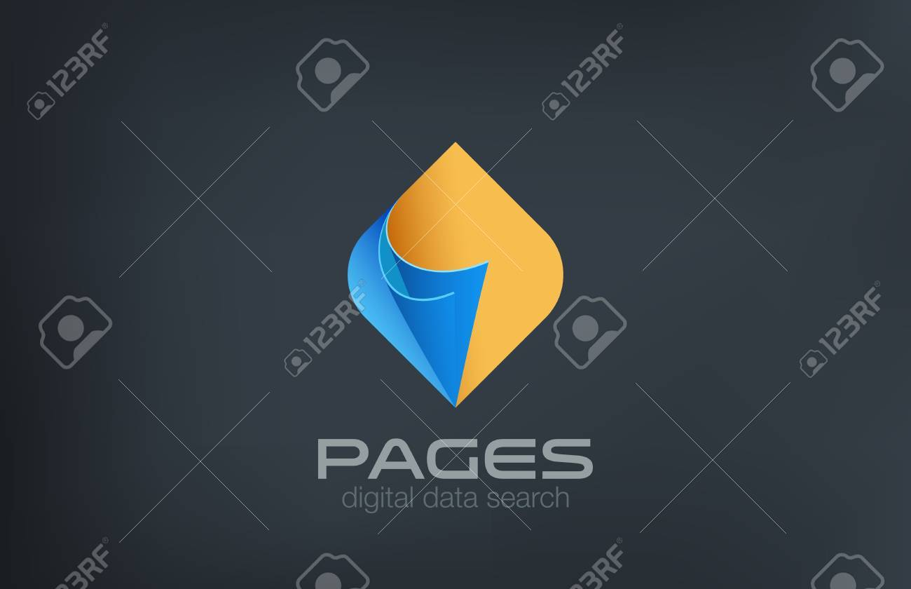 Open Pages Logo Design Vector Template Search Data Concept Guide – Reference Manual Template