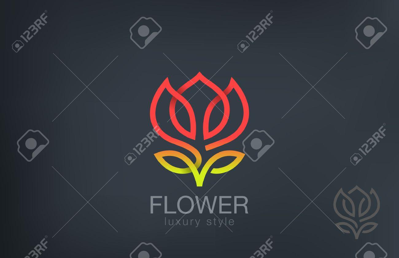 Abstract Flower Logo design vector template line art style. Luxury Cosmetics Trendy Concept logotype icon. - 45460098